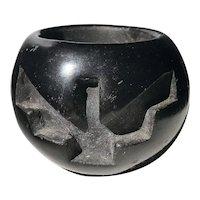 Santa Clara Pottery Blackware small bowl by Camilio Sunflower Tafoya Native American New Mexico artist