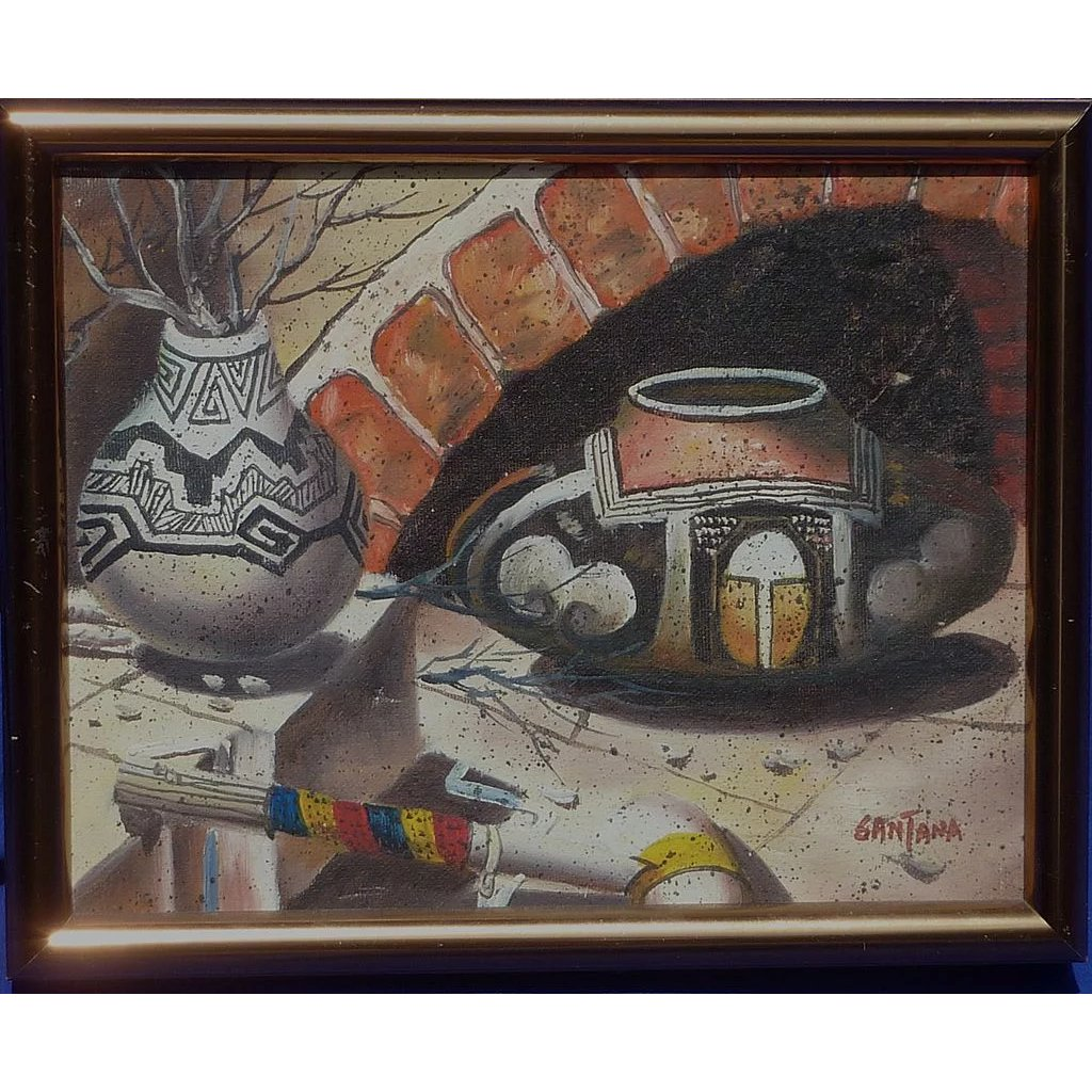 Contemporary Signed Southwest Art Painting Of Tradition
