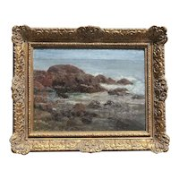 Ben Carre (1883- 1978) rocky coastline landscape oil on wood panel painting  by listed artist