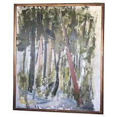 Large oil on canvas impressionist landscape oil painting of trees forest  signed