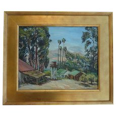 Marie Ware  American listed artist California plein air impressionist landscape with palm eucalyptus trees ranch and outbuildings oil painting