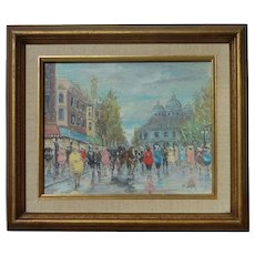 "Stolen Paris street scene impressionist mid 20th century  French oil on canvas painting signed ""PIPER"""