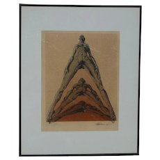 Stolen Modern decorative lithograph print of a three nude figures pencil signed 1976