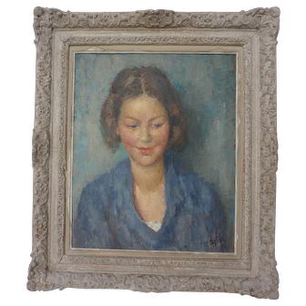 Marcel Dyf (1899- 1985) beautiful  early portrait of a young woman 1933