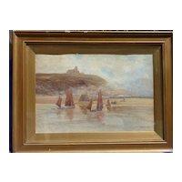 John Marshall Jowett early 20th Century large English watercolor coastal landscape