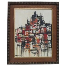 Filipino art well listed Paco Gorospe (1939 -2002) mid century abstract composition oil painting