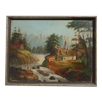 Old circa 1900's folk art river mountains landscape with fishing kids painting