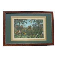 Exotic fantasy jungle landscape with leopard snake monkey gouache painting in Henri Rousseau style