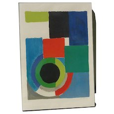 """SONIA DELAUNAY - TERK (1885-1979) French artist contemporary modernist color lithograph """"GRAND CARRE ROUGE"""" pencil signed"""