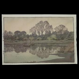 "Hiroshima Yoshida  (1876 -1950) Japanese ""YOSHIKAWA"" posthumously printed  woodblock printing"