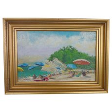 Contemporary colorful impressionist mid century painting  of summer  beach day at seaside cove signed GINNY