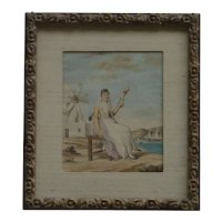 Old Greek watercolor painting of a woman spinning yarn in a landscape with a windmill lake and clipper ships