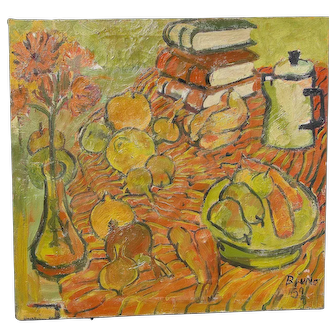 "1959 Still life impressionist modernist mid century oil painting of flowers, books and fruits signed ""BRUNO"""