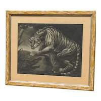 "Rare 1799 ""Tiger & Crocodile"" mezzotint and etching after James Northcote (1746 -1831) British artist"