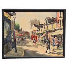 French impressionist mid 1950's Paris street scene ink and watercolor painting signed