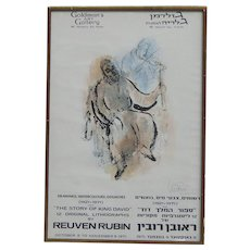 """Stolen Reuven Rubin (1893 -1974) Jewish art pencil signed limited edition gallery poster """"THE STORY OF KING DAVID""""  by important Israeli artist"""
