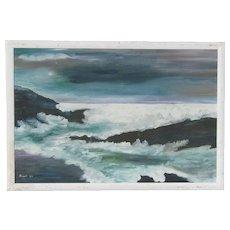 "1959 impressionist  mid century oil painting of coastal seascape signed  ""Brunell"""