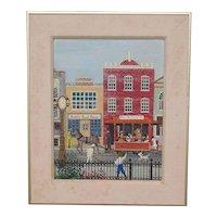 JANE WOOSTER SCOTT (1920-) American 20th century folk art artist oil painting Americana street scene with a daily life