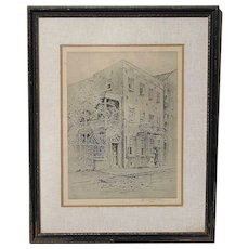 Elizabeth O'Neil Verner (1883 - 1979) South Carolina American well listed artist lithograph print Charlston street scene