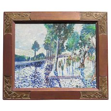 1962 Impressionist river trees landscape oil painting by 20th century artist Mayorga blue purple colors dominant