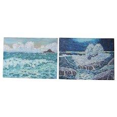 Stolen PAIR artist Slivinski 1950's impressionist oil paintings of the deep blue seas of Hawaii