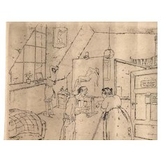 Willy Hallstein (1887 -1923) German artist etching of an interior signed in pencil
