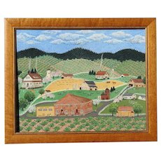 Sara Barnes (1932- ) Folk art primitive Northern California Sonoma County Korbel Winery landscape scene oil painting 1981