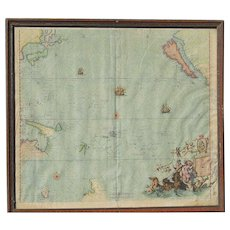 Stolen Magnum Mare del Zur cum Insula California 1745 map by brothers Joshua Ottens (1704-1765) and Reiner Ottens (1698 -1750)  RARE