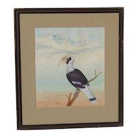 Original detailed gouache painting of tropical bird in Himalayan Mountain foothills