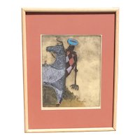 "Maria Klein (1920-) American California artist ""Pink Rider"" color aquatint etching pencil signed"