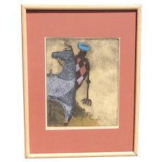 """Maria Klein (1920-) American California artist """"Pink Rider"""" color aquatint etching pencil signed"""