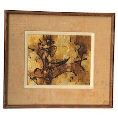Sueo Serisawa (1910 -2004) Impressionist modernist abstract oil on gold painting listed American California artist circa 1959