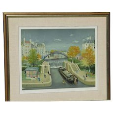 """Michel Delacroix (born 1933) French well listed artist color lithograph of city scene river and a boat pencil signed """"Le Canal St. Martin En Autonne  1990"""""""