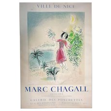 "Marc Chagall (1887-1985) original lithograph poster ""Ville De Nice - Bay of Nice"" printed by Mourlot 1970 young happy lady in red dress dancing by the shore line Cote d'Azur"
