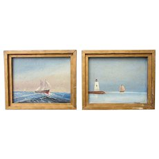 McKenna artist marine art clipper ship on high seas and Connecticut lighthouse oil paintings