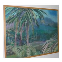 Large Impressionist pastel drawing of a tropical palms and a mountains signed by the artist