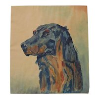 Impressionist watercolor painting of a dog dated 1939 signed