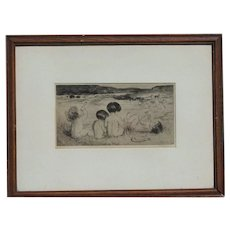 Amalia Mathilde Bowerley (1873 –1916) English listed artist etching  of a nude happy children summer time playing on the beach signed in pencil