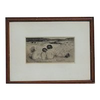 Amalia Mathilde Bowerley (1873 –1916) pencil signed English listed artist etching of nude happy children playing on the in pencil