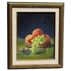 Ilene Meyer  (1939 -2009) still life painting of fruits grapes and peaches in the night landscape with the  stars by American surrealist artist