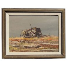 Bert Wood oil painting of old wagon on the plains landscape