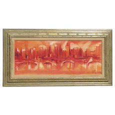 Ozz Franca (1928-1991) listed Brazil-California  artist abstract mid century city landscape oil painting red white colors dominant