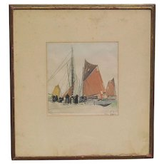 Hans Figura (1898-1978) Austrian artist  color aquatint etching print fisherman harbor with a figures and sailing boats