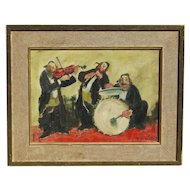 ADOLF ADLER (1917-1996) listed Jewish Judaica art oil painting of a three musicians happy painting