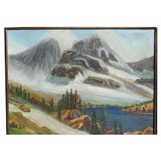 JAMES MERRIAM (1880-1951) American California plein air listed artist Sierra Nevada Mountains and lake painting