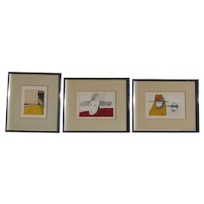 Joaquin Reyes (1949-1994) Puerto Rico artist set of three ink and watercolor drawings paintings man with a hat modernist art 1980