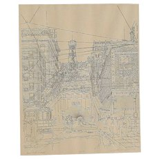 Historic Downtown Los Angeles Angel's Flight Bunker Hill signed in  pencil Paul Youngman 1973