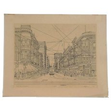 Historic Downtown Los Angeles Fourth and Hill Street scene lithograph signed in  pencil Paul Youngman 1973