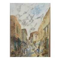 Orientalist watercolor painting Middle East  townscape by the listed artist P.H.Janowitz