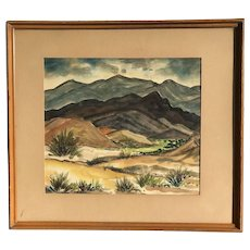 Helen B Hughes Reynolds  (1874 - 1963) American listed artist hilly landscape watercolor painting